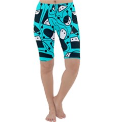 Playful abstract art - cyan Cropped Leggings