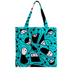 Playful abstract art - cyan Zipper Grocery Tote Bag