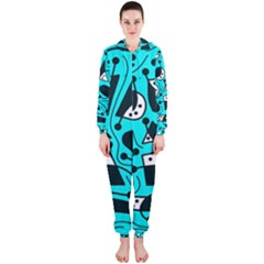 Playful abstract art - cyan Hooded Jumpsuit (Ladies)