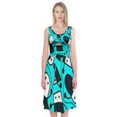 Playful abstract art - cyan Midi Sleeveless Dress
