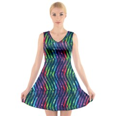 Colorful Lines V Neck Sleeveless Dress