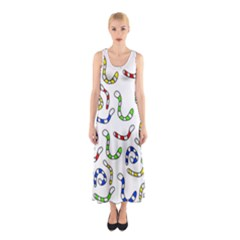 Colorful Worms  Sleeveless Maxi Dress