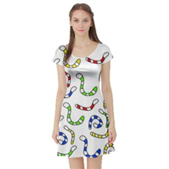Colorful worms  Short Sleeve Skater Dress