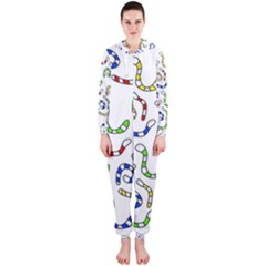 Colorful worms  Hooded Jumpsuit (Ladies)