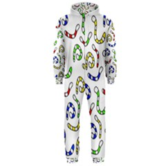 Colorful worms  Hooded Jumpsuit (Men)