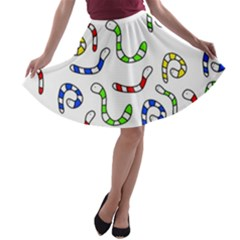 Colorful worms  A-line Skater Skirt