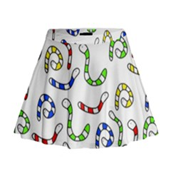Colorful worms  Mini Flare Skirt