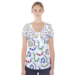Colorful worms  Short Sleeve Front Detail Top