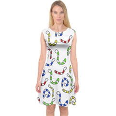 Colorful Worms  Capsleeve Midi Dress