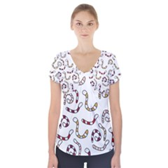 Cute Worms Short Sleeve Front Detail Top