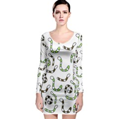 Green worms Long Sleeve Bodycon Dress