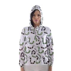 Green worms Hooded Wind Breaker (Women)