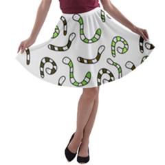 Green worms A-line Skater Skirt
