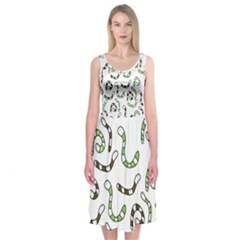 Green worms Midi Sleeveless Dress