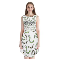 Green worms Sleeveless Chiffon Dress