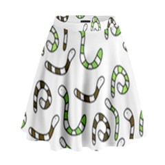 Green worms High Waist Skirt
