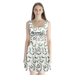 Green worms Split Back Mini Dress
