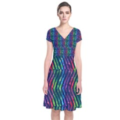 Colorful Lines Short Sleeve Front Wrap Dress