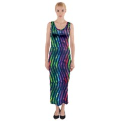 Colorful Lines Fitted Maxi Dress