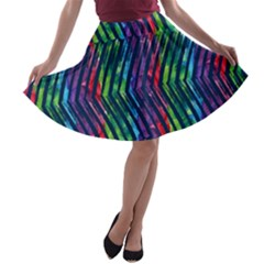 Colorful Lines A Line Skater Skirt