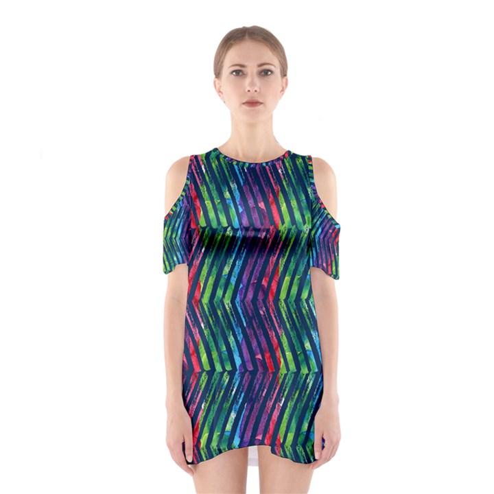 Colorful Lines Women s Cutout Shoulder One Piece
