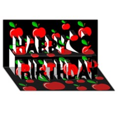 Red apples  Happy Birthday 3D Greeting Card (8x4)