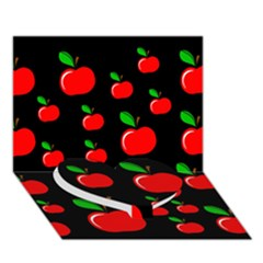 Red apples  Heart Bottom 3D Greeting Card (7x5)