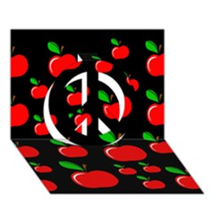 Red apples  Peace Sign 3D Greeting Card (7x5)