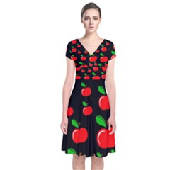Red apples  Short Sleeve Front Wrap Dress
