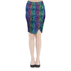 Colorful Lines Midi Wrap Pencil Skirt