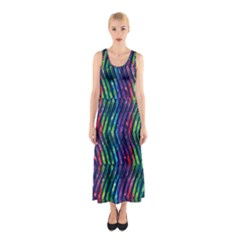 Colorful Lines Sleeveless Maxi Dress