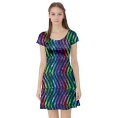 Colorful Lines Short Sleeve Skater Dress