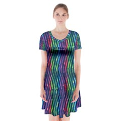 Colorful Lines Short Sleeve V-neck Flare Dress