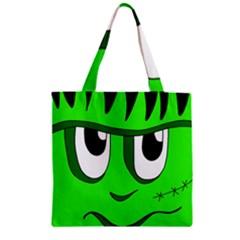 Halloween Frankenstein - Green Zipper Grocery Tote Bag