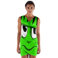 Halloween Frankenstein - Green Wrap Front Bodycon Dress