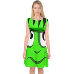 Halloween Frankenstein - Green Capsleeve Midi Dress