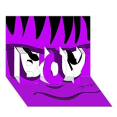 Halloween - purple Frankenstein BOY 3D Greeting Card (7x5)