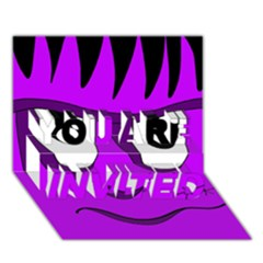 Halloween - purple Frankenstein YOU ARE INVITED 3D Greeting Card (7x5)
