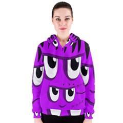 Halloween - purple Frankenstein Women s Zipper Hoodie