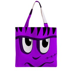 Halloween - purple Frankenstein Zipper Grocery Tote Bag