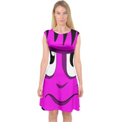 Halloween - pink Frankenstein Capsleeve Midi Dress