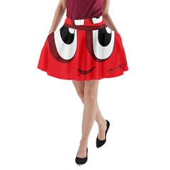 Halloween Frankenstein - red A-Line Pocket Skirt