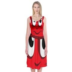Halloween Frankenstein - red Midi Sleeveless Dress