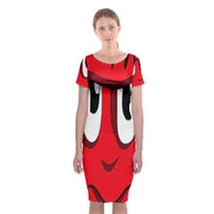 Halloween Frankenstein - red Classic Short Sleeve Midi Dress
