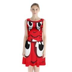 Halloween Frankenstein - red Sleeveless Chiffon Waist Tie Dress
