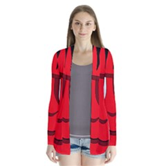 Halloween Frankenstein   Red Drape Collar Cardigan