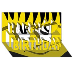 Halloween Frankenstein - yellow Happy Birthday 3D Greeting Card (8x4)