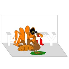 Thanksgiving turkey - transparent PARTY 3D Greeting Card (8x4)