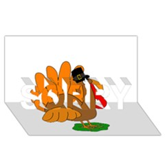 Thanksgiving turkey - transparent SORRY 3D Greeting Card (8x4)