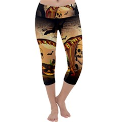 Halloween, Funny Pumpkin With Skull And Spider In The Night Capri Yoga Leggings